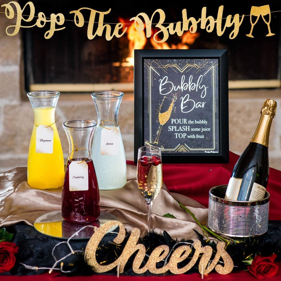 Champagne Bar Decorations Kit - Silver Gold Bubbly Bar Banner, Great Gatsby Bridal Shower Decorations Table Mimosa Sign Roaring 20s Theme Birthday Party Brunch Bachelorette New Years Eve Decor (Black)