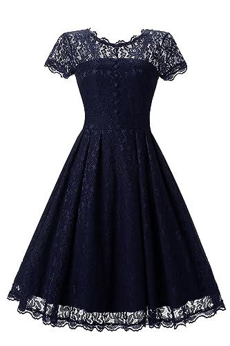 G Marry Women's Retro Floral Lace Cap Sleeve Vintage Bridesmaid Party Dress