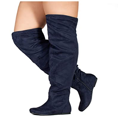 2ac5958bb2e26 RF ROOM OF FASHION Wide Calf Women s Stretchy Over The Knee Slouchy Boots  Navy (7