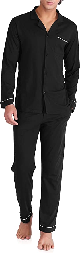 DAVID ARCHY Men's Cotton Sleepwear Button-Down Pajamas Set