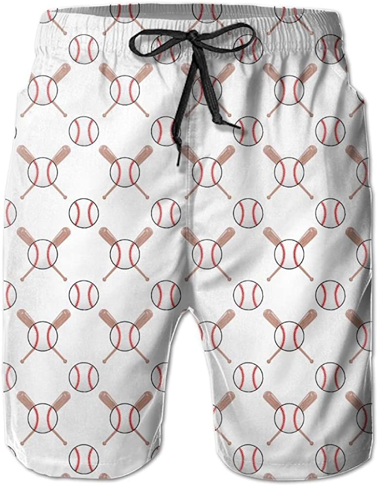 Suining Baseball and Bat Swim Beach Trunks Cargo Shorts For Mens