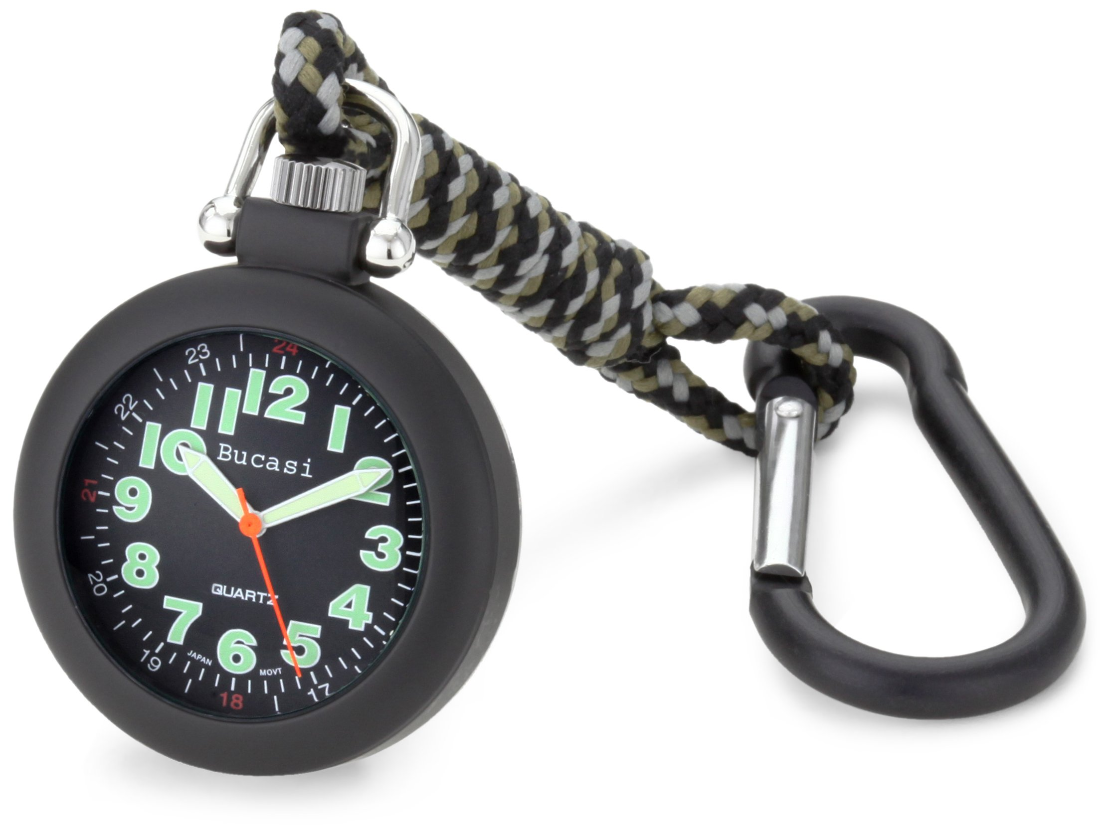 Bucasi PW1030B Military Luminous Easy To Read Spring Clip Pocket Watch by Bucasi
