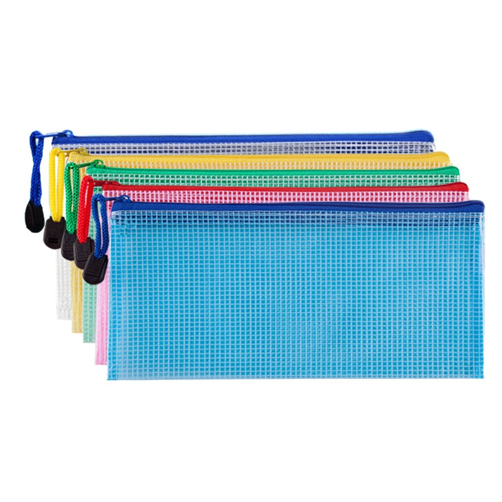 Bilipala Small Zipper Envelope Document Storage Pouch Bag Invoice Holder Organizer for Budget, Check, Pencil, 5 Counts