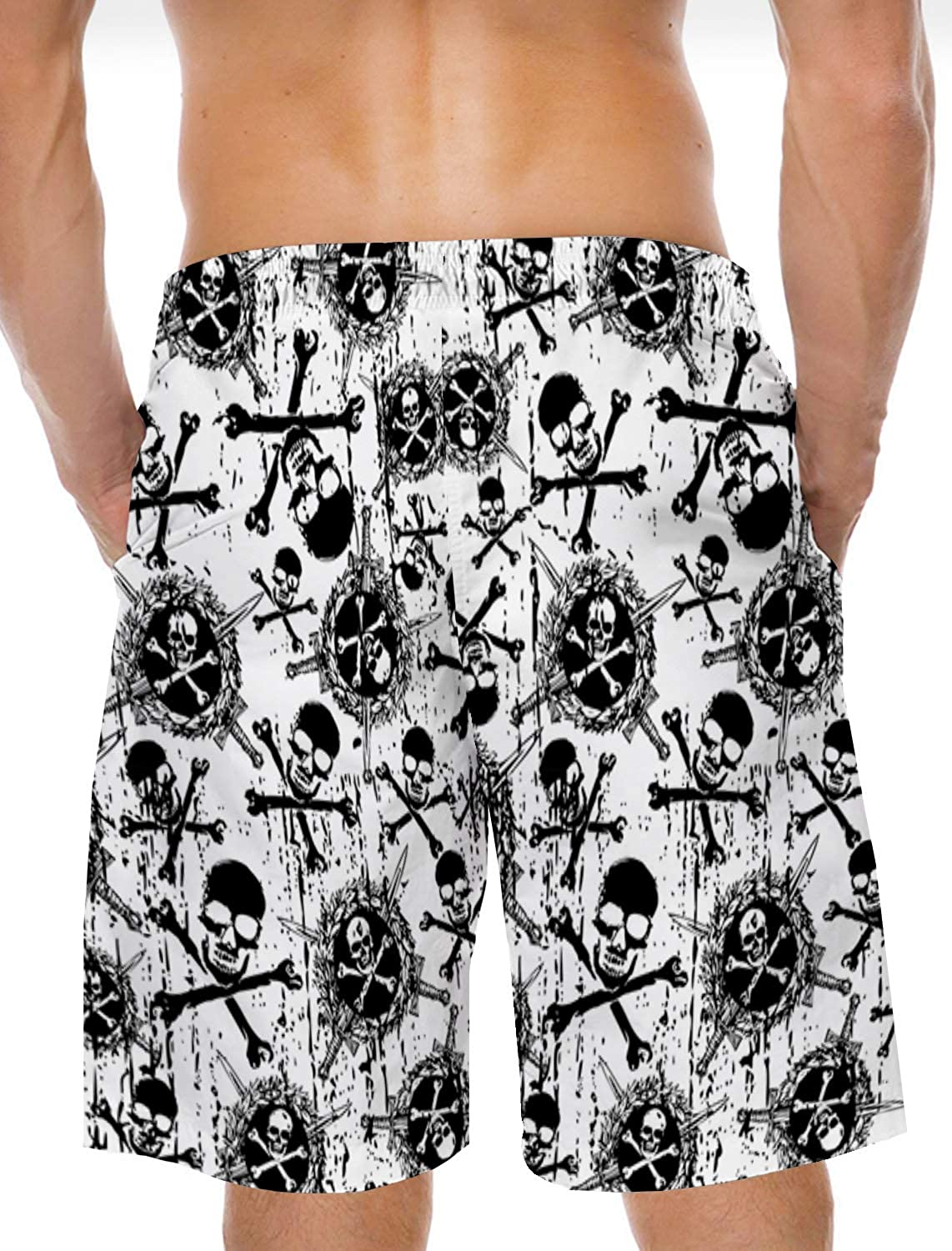Mens Beach Shorts Black and White Pirate Skull Head Summer Casual Quick Dry Short Pants Stretch Swimming Trunks with Pocket
