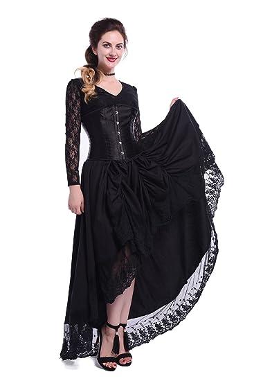 Nuoqi Damen Gothic Sexy Spitzenkleid mit Korsett V-Neck Prom Gown ...