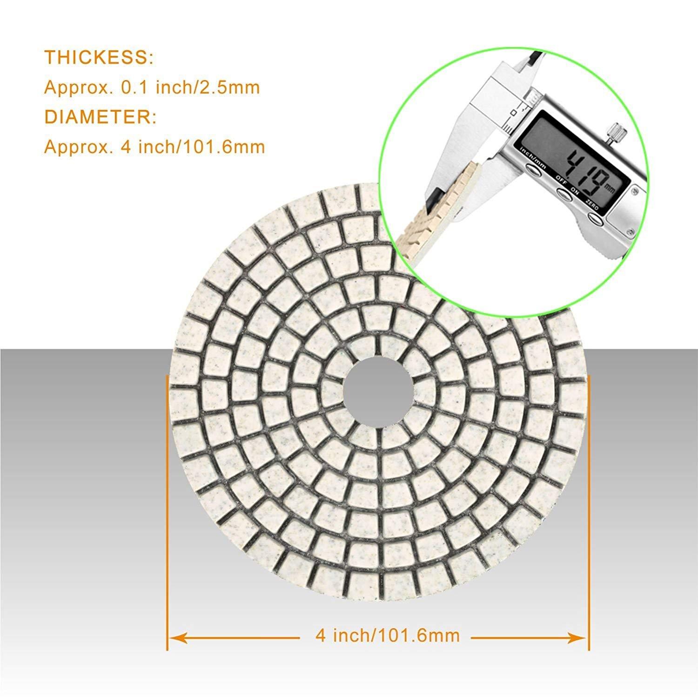 pastiglie da 4 pollici per grinder o lucidatore per pavimenti in marmo di granito Set di tamponi per lucidatura Wet diamantati SPTA 15pcs