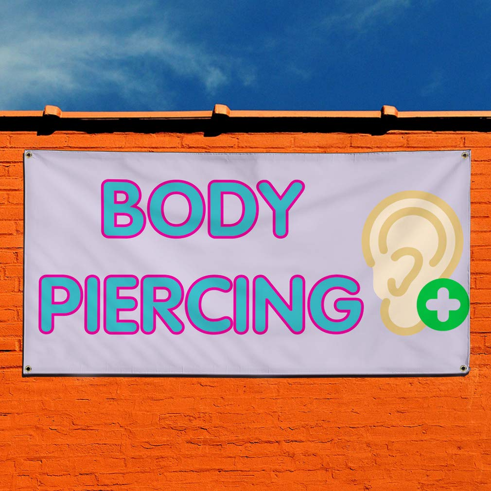 28inx70in Set of 2 Vinyl Banner Sign Body Piercing #1 Style E Business Marketing Advertising Lavender Multiple Sizes Available 4 Grommets