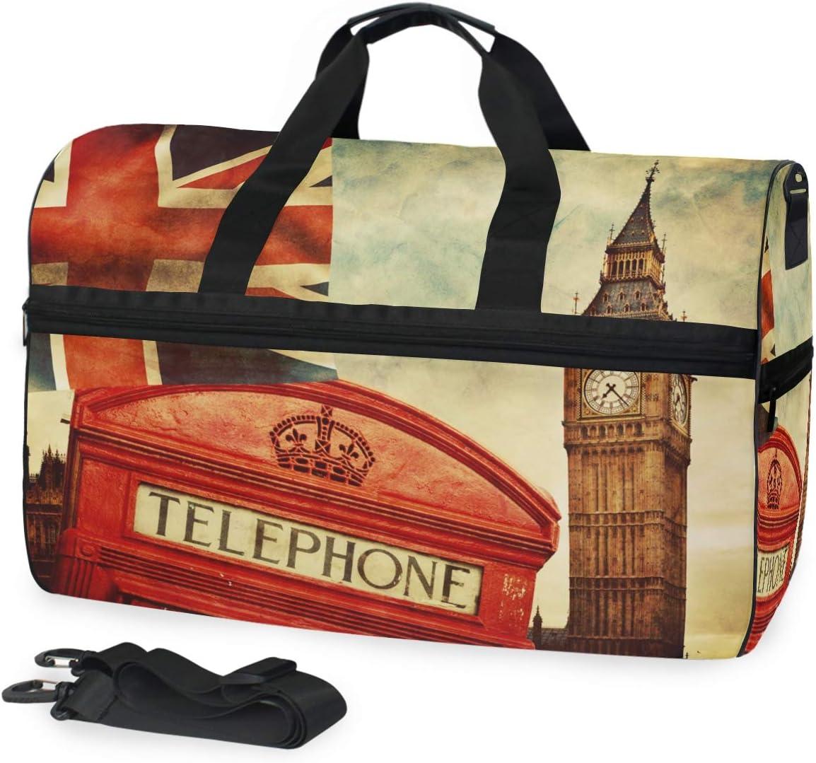 TFONE England London Theme Duffel Bag Sports Gym Weekend Bags with Shoe Compartmen