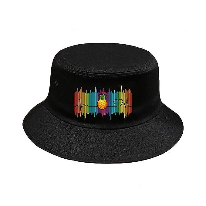 Pineapple Heart Bucket Hat Headwear Summer Beach Sun Hat Cotton