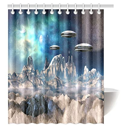 InterestPrint Outer Space Shower Curtain, Fantasy Futuristic Science  Fiction Comic Planet Spaceships Ufo Fabric Bathroom