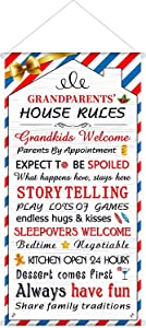 Blulu Welcome Grandparents House Rules Door Sign Home Door Hanger for Christmas Decoration Decorative Wall Art Sign Garden Flag Party, 23.6 x 11.8 inch