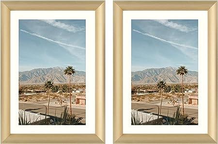 Frametory - Marco de Aluminio Dorado para Fotos, Color Marfil ...
