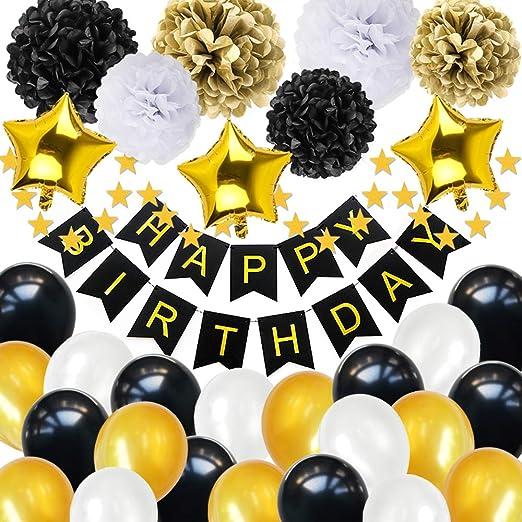 Bakhk Pompoms Happy Birthday Banner Ballon Set Geburtstagsdeko Partydekoration Für Erwachsene 30 Jahre Alt Schwarz Golden Weiß Küche Haushalt