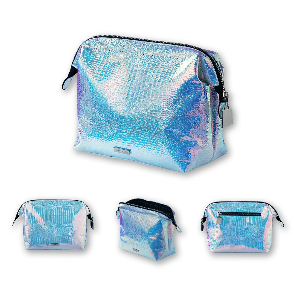 Holographic makeup bag Cosmetic Shiny Rainbow pouch Portable Handle bag Colorful Laser Iridescent pouch Waterproof Skincare Cosmetic large Makeup Case Toiletry Beach Wash Bag