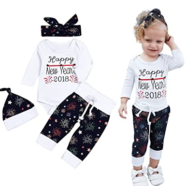 Weant Christmas Baby Outfits Newborn Outfits Set Happy New Year's 2018  Infant Toddler Home Pajamas Set 4PCS Tops + Pants + Cap + Headband Baby  Clothes for ... - Weant Christmas Baby Outfits Newborn Outfits Set Happy New Year's