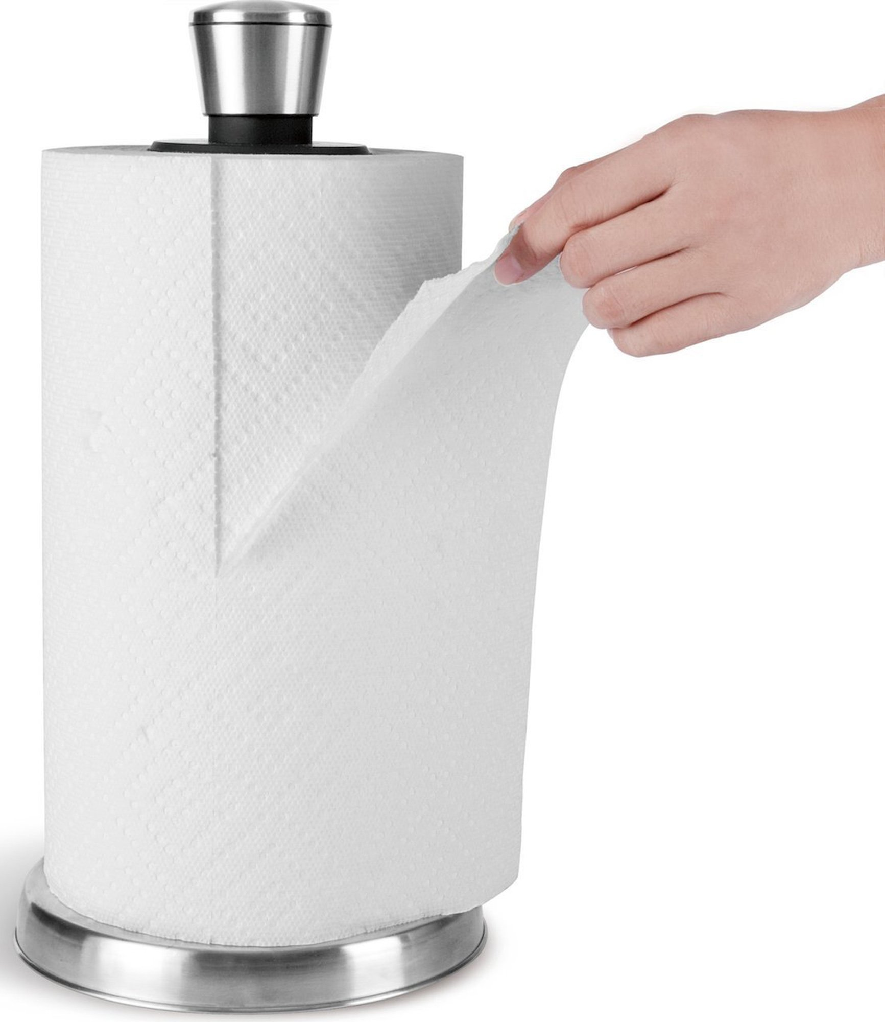 Paper Towel Holder by Royal - Easy Tear with One Hand - Stainless Steel Paper Towel Dispenser with Weighted Base - Paper Towel Rack Holds Bounty, Brawny, and All Brands