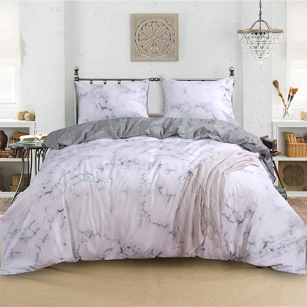 Smoofy 3 Piece Duvet Cover Set, Marble Luxury Comforter Quilt Cover 100% Cotton Comfortable Hypoallergenic Bedding Sets with Zipper Closure
