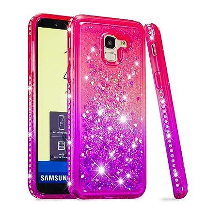 Carcasa Samsung Galaxy J6 2018 J600, Glitter Líquido Transparente Silicona TPU Suave Funda con Brillante Bling Diamante Purpurina Protectora Case ...