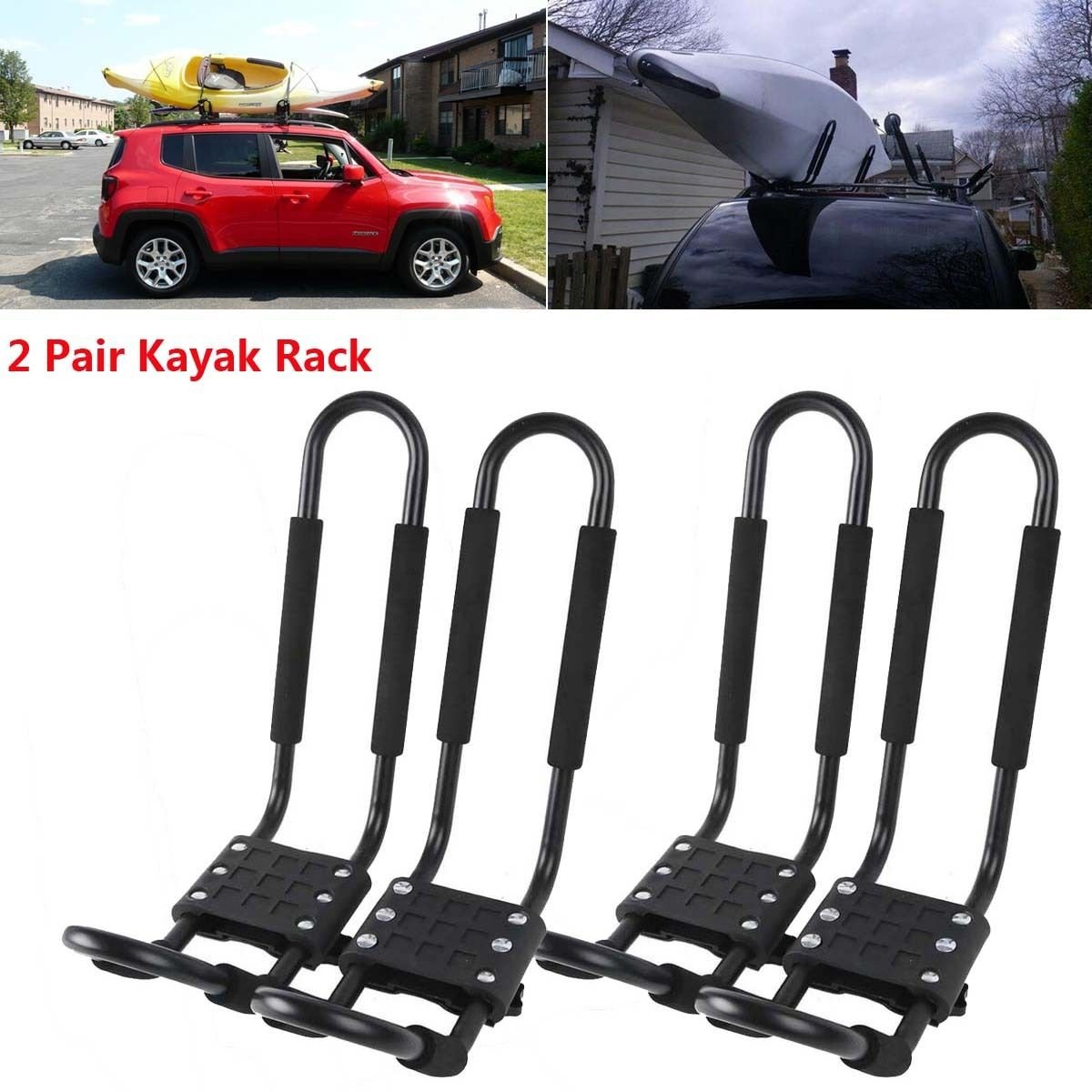 XMT-MOTO J-Bar 2 Pairs Universal Kayak Canoe Top Mount Carrier Roof Rack Boat SUV Van Car