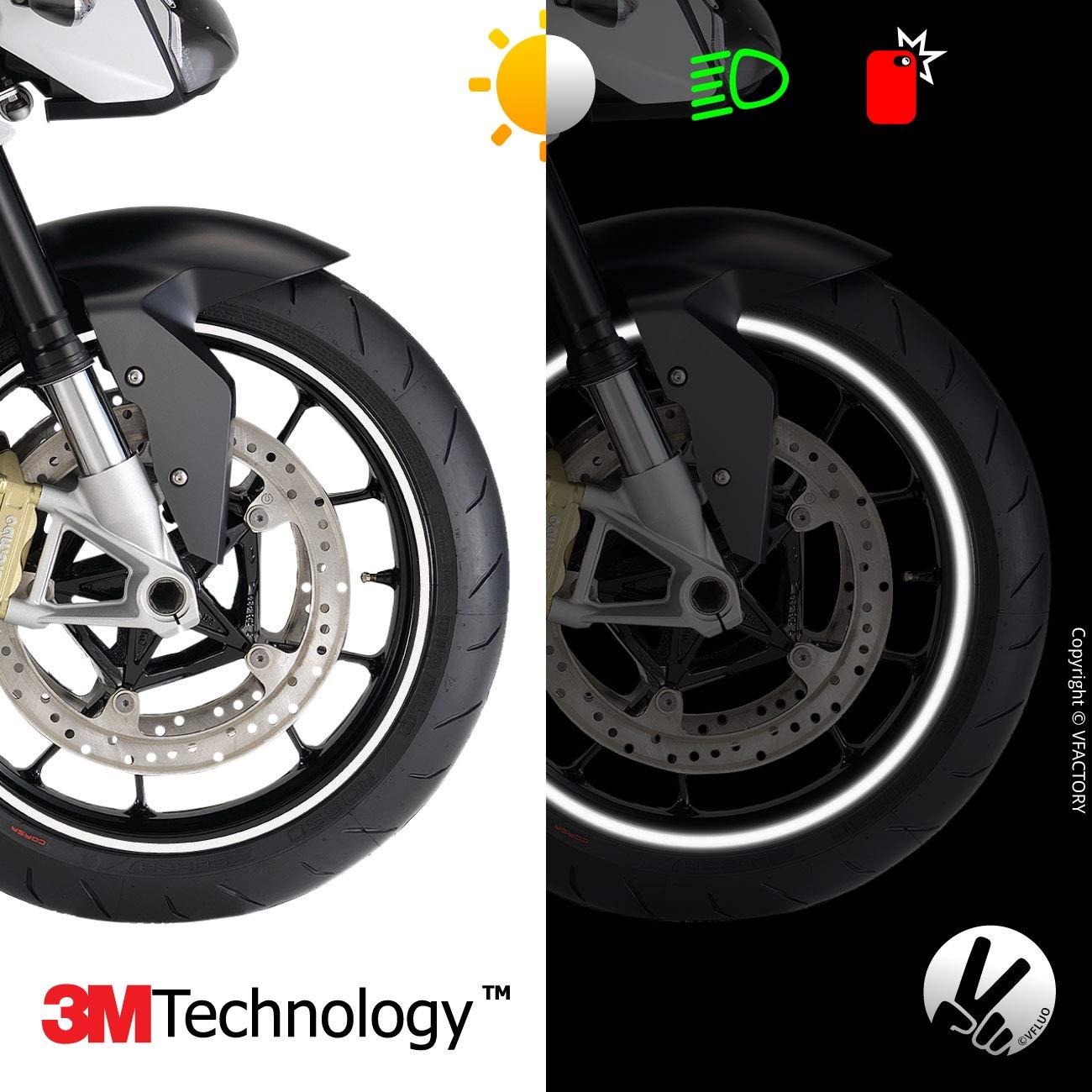 VFLUO Circular/™ Anchura XL : 10 mm Noche Azul 3M Technology/™ Rayas Retro Reflectantes para Llantas de Moto 1 Rueda Kit de Cintas