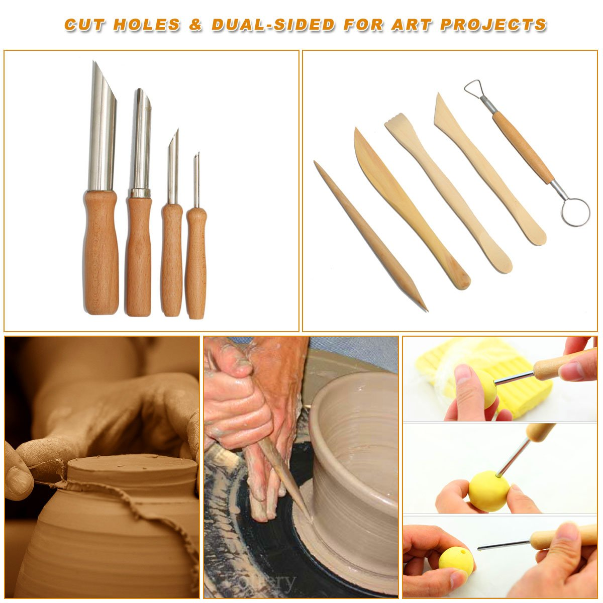 Hotab 45pcs Set Wooden Pottery & Clay Sculpting Tools with Plastic Case by Hotab (Image #3)