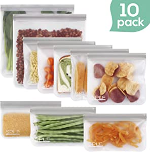 SPLF 10 Pack BPA FREE Reusable Storage Bags (5 Reusable Sandwich Bags, 3 Reusable Snack Bags, 2 Reusable Gallon Bags), Extra Thick Freezer Bags Leakproof Silicone and Plastic Free Ziplock Lunch Bags