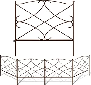 Amagabeli Decorative Garden Fence 24in x 10ft Outdoor Rustproof Metal Landscape Wire Fencing Folding Wire Patio Fences Flower Bed Animal Dogs Barrier Border Edge Section Edging Decor Picket Brown