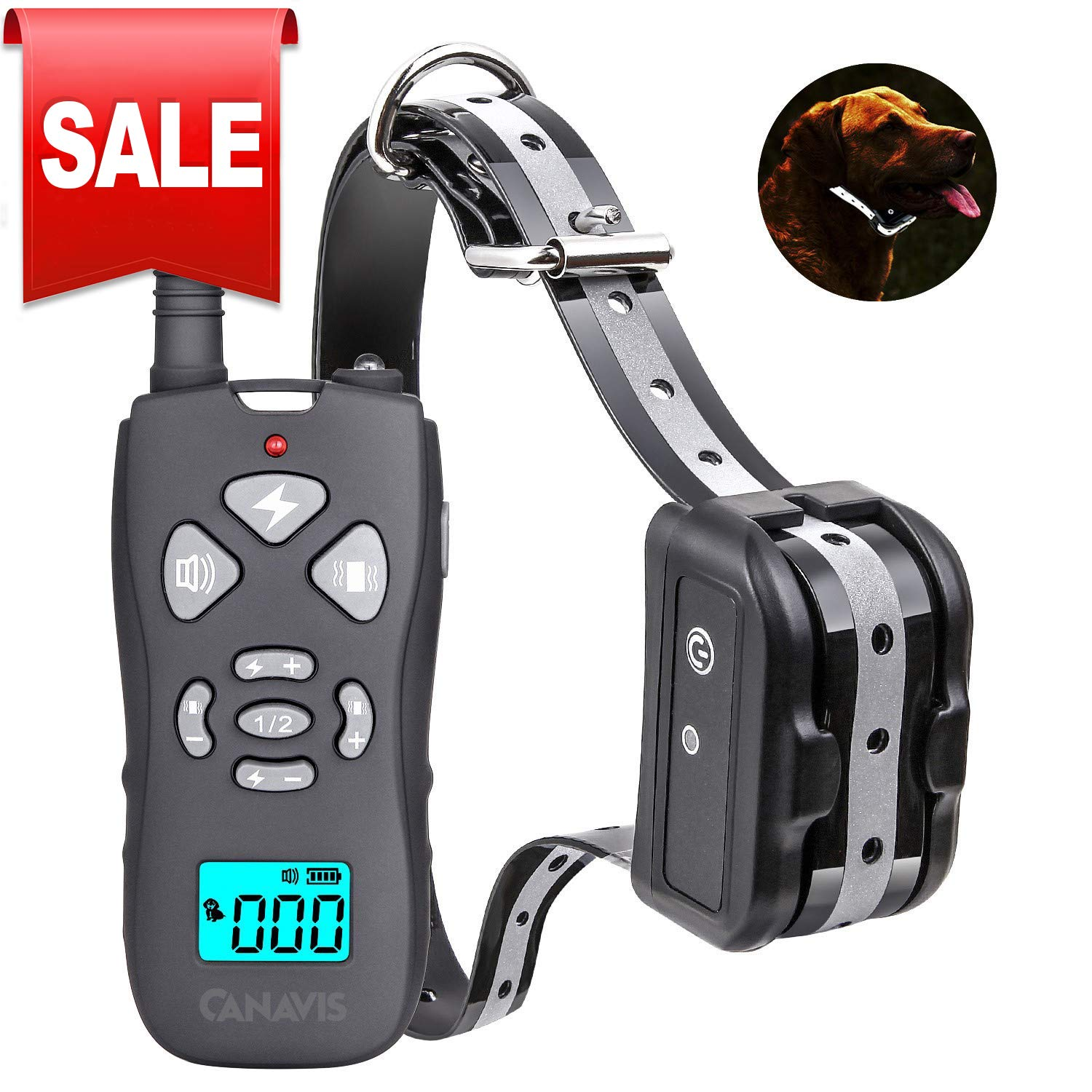 CANAVIS Dog Shock Collar with 1800Ft Remote, Waterproof Dog Training Collar, Rechargeable Electronic Collar with Vibration Tone Shock Modes, Adjustable Collar Strap for Small Medium Large Dog by CANAVIS