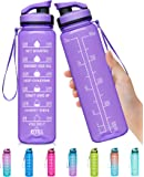 Elvira 32oz Large Water Bottle with Motivational Time Marker & Removable Strainer,Fast Flow BPA Free Non-Toxic for…