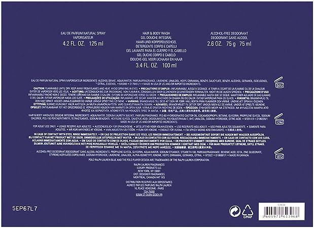 Ralph Lauren Polo Blue Set de Regalo - 3 Piezas: Amazon.es: Belleza