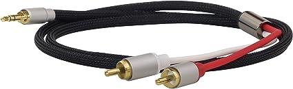 TALLA 3m. DynaVox 207385 - Cable de Audio estéreo (Conector Macho a Conector Macho, 3 m), Color Negro