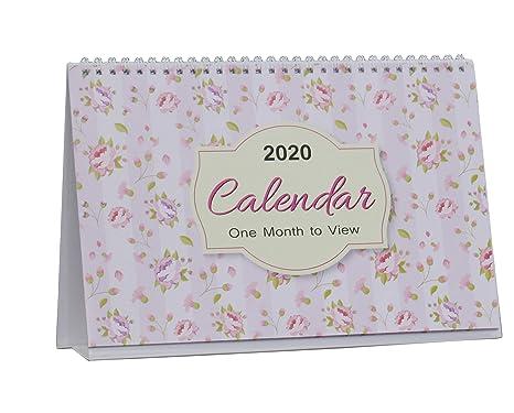 Calendario 2020 Da Tavolo.Arpan 2019 2020 Calendario Da Tavolo Per Ufficio Con Visualizzazione Mensile Motivo Foglie Floreali