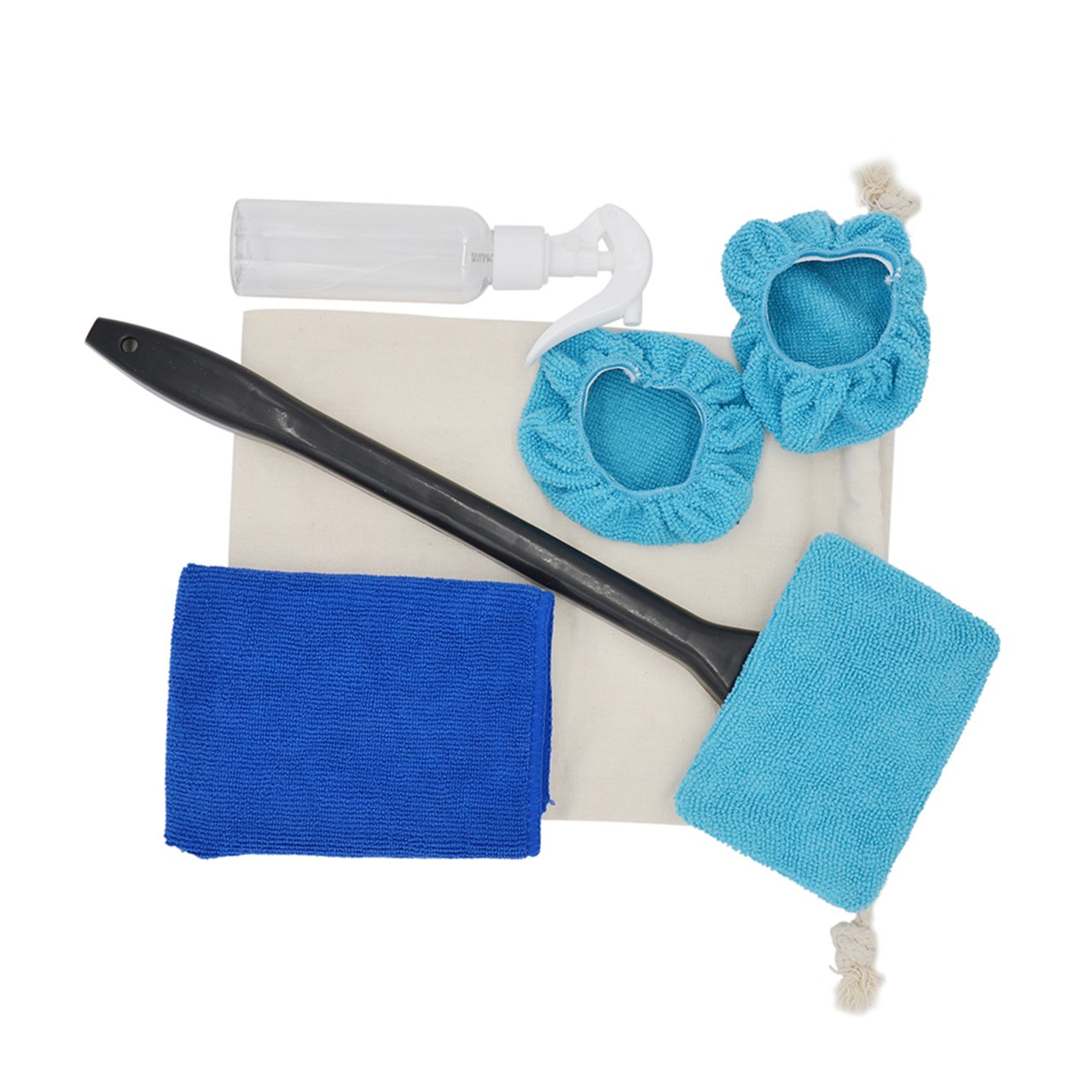Rectangle Car Windshield Cleaner Auto Glass Wiper with Washable Microfiber Wipes Cleaning Cloth Canvas Storage Pouch 100ML Empty Spray Bottle Set of 5