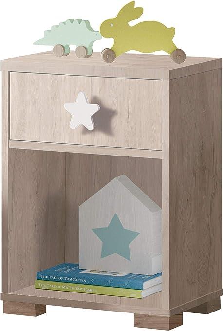 Mesita Noche Shine Dormitorio Infantil Color Roble 1 Cajon ...