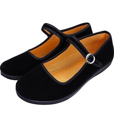 56e5a41328b07 S&L Women Velvet Walk Comfort Mary Jane Flats Shoes