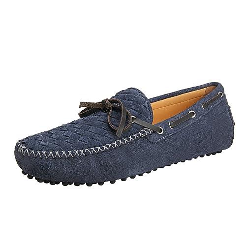 Shenduo Zapatos Casuales - Mocasines de Cuero con Cordones de Moda para Hombre D7158: Amazon.es: Zapatos y complementos