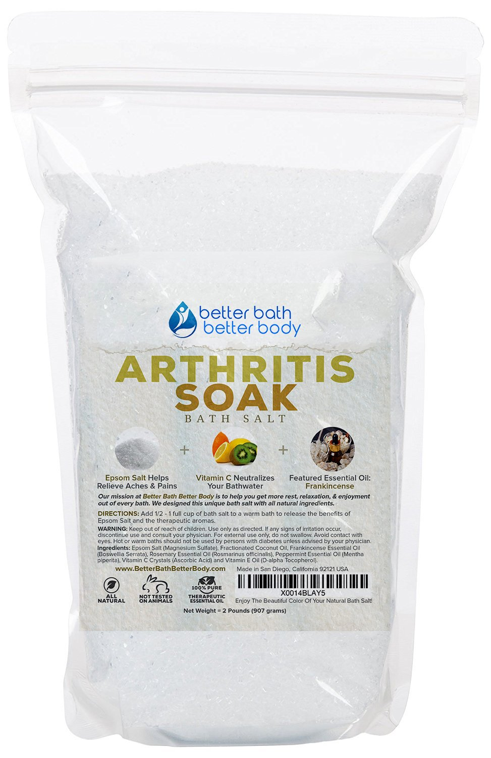 Arthritis Bath Salt 32oz (2-Lbs) - Epsom Salt Bath Soak With Frankincense Essential Oil & Vitamin C - Get Arthritis Relief With This Natural Bath Soak - All Natural No Perfumes No Dyes