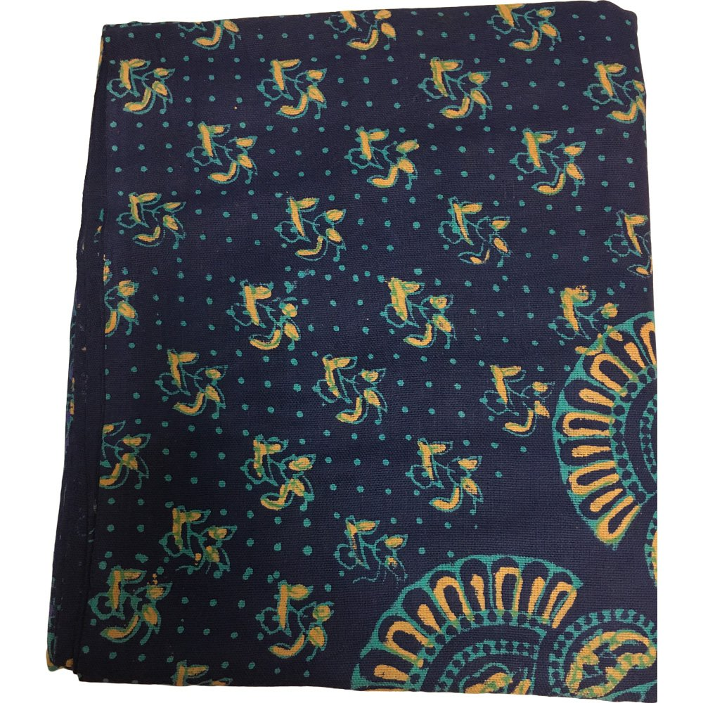 India Navy Blue Handloomed Cotton Mandala Peacock Bedspread Blanket Throw Tapestry 110''x 110'' (King Size) by Rajasthan Cottage (Image #7)