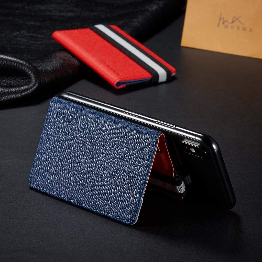FATTERYU RFID Blocage Adh/ésif en Cuir V/éritable Carte de Cr/édit Poche Autocollant Pochette Titulaire Cas pour T/él/éphone Portable Gris