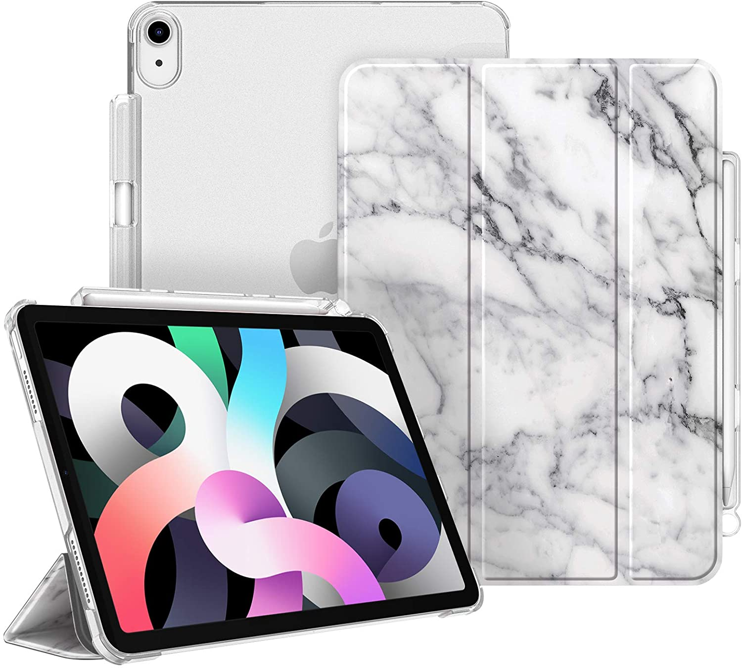 Fintie Case for iPad Air 4 10.9 Inch 2020 with Pencil Holder - SlimShell Lightweight Stand Case with Translucent Frosted Back Cover, Auto Wake/Sleep for iPad Air 4th Generation, Marble White