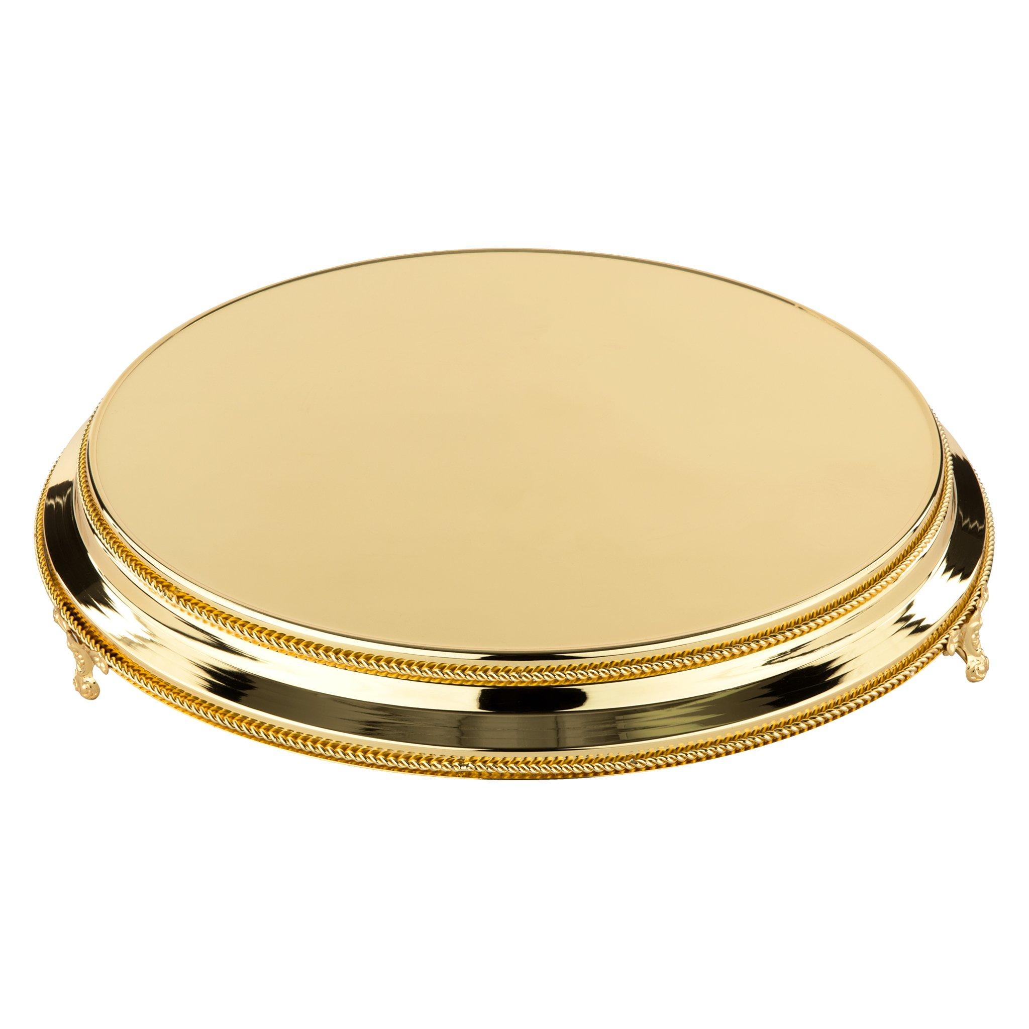 16 Inch Round Shiny Metallic Wedding Cake Stand Plateau (Gold)