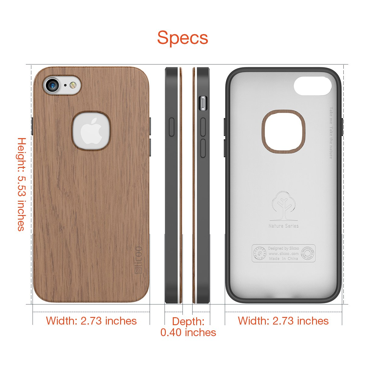 hot sale online cfa3f 71308 iPhone 7 Case, Slicoo [Nature Series] Wood Slim Covering Case for ...
