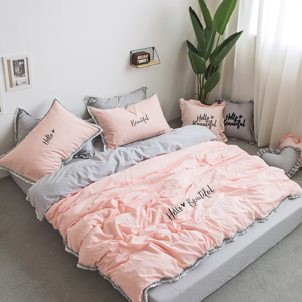 Fringe Bedding Sets Pink&Grey - MeMoreCool 100% Cotton Embroidery Princess Room Home Textiles Duvet Cover and Fitted Sheet Full Girls Gifts