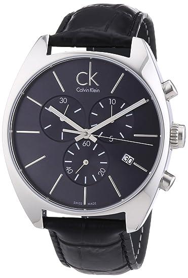 Calvin Klein K2F27107 - Reloj analógico de caballero de cuarzo con correa de piel negra: Calvin Klein: Amazon.es: Relojes