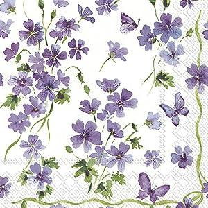 Boston International IHR 3-Ply Cocktail Beverage Paper Napkins, 5 x 5-Inches, Purple Spring