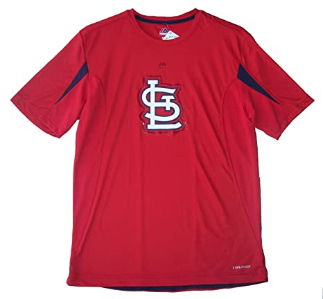 2771aafb4 Image Unavailable. Image not available for. Color  Majestic St. Louis  Cardinals Adult Medium Performance Cool Base Material Oversized Logo Shirt  - Red