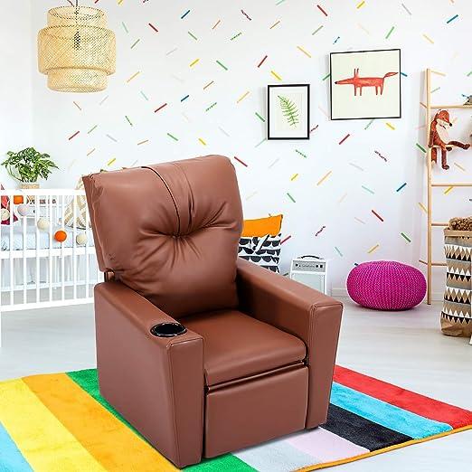Costzon Sofá reclinable para niños, Silla de Piel sintética ...