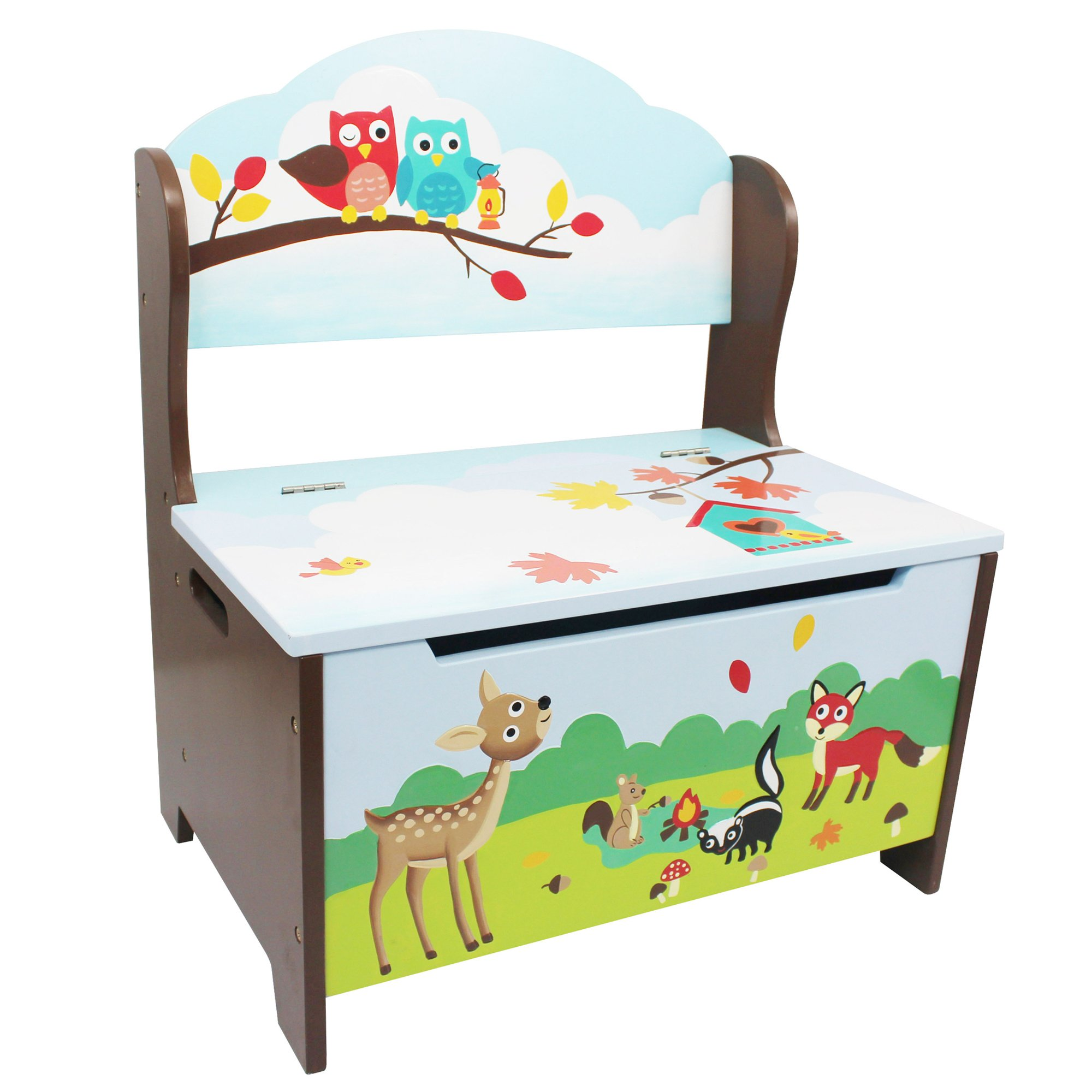 Fantasy Fields Enchanted Woodland Thematic Kids Storage Bench | Imagination Inspiring Hand Crafted & Hand Painted Details | Non-Toxic, Lead Free Water-based Paint