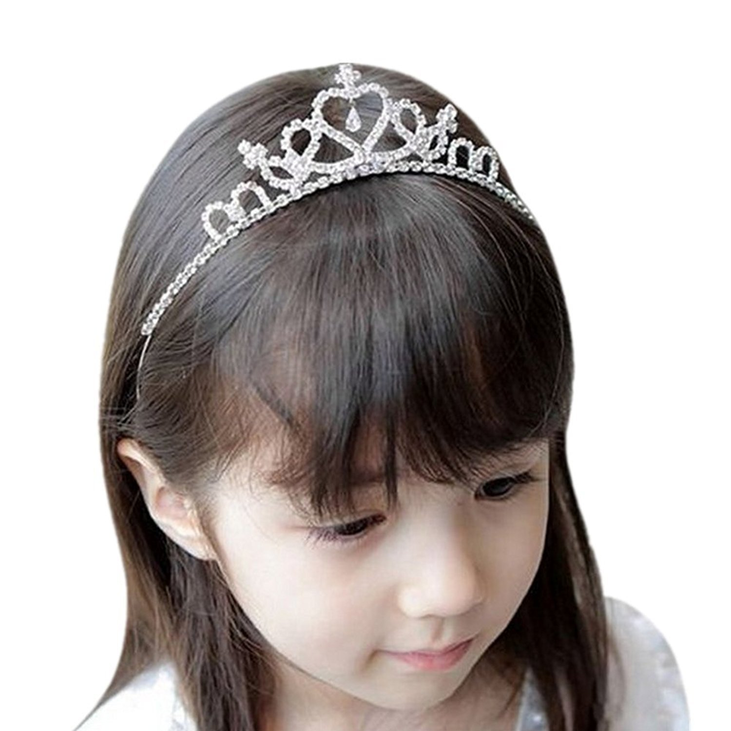 Castle Fairy Flower Girl Rhinestones Crown Headband Tiara Wedding Party Children Bridesmaid (one size, silver)