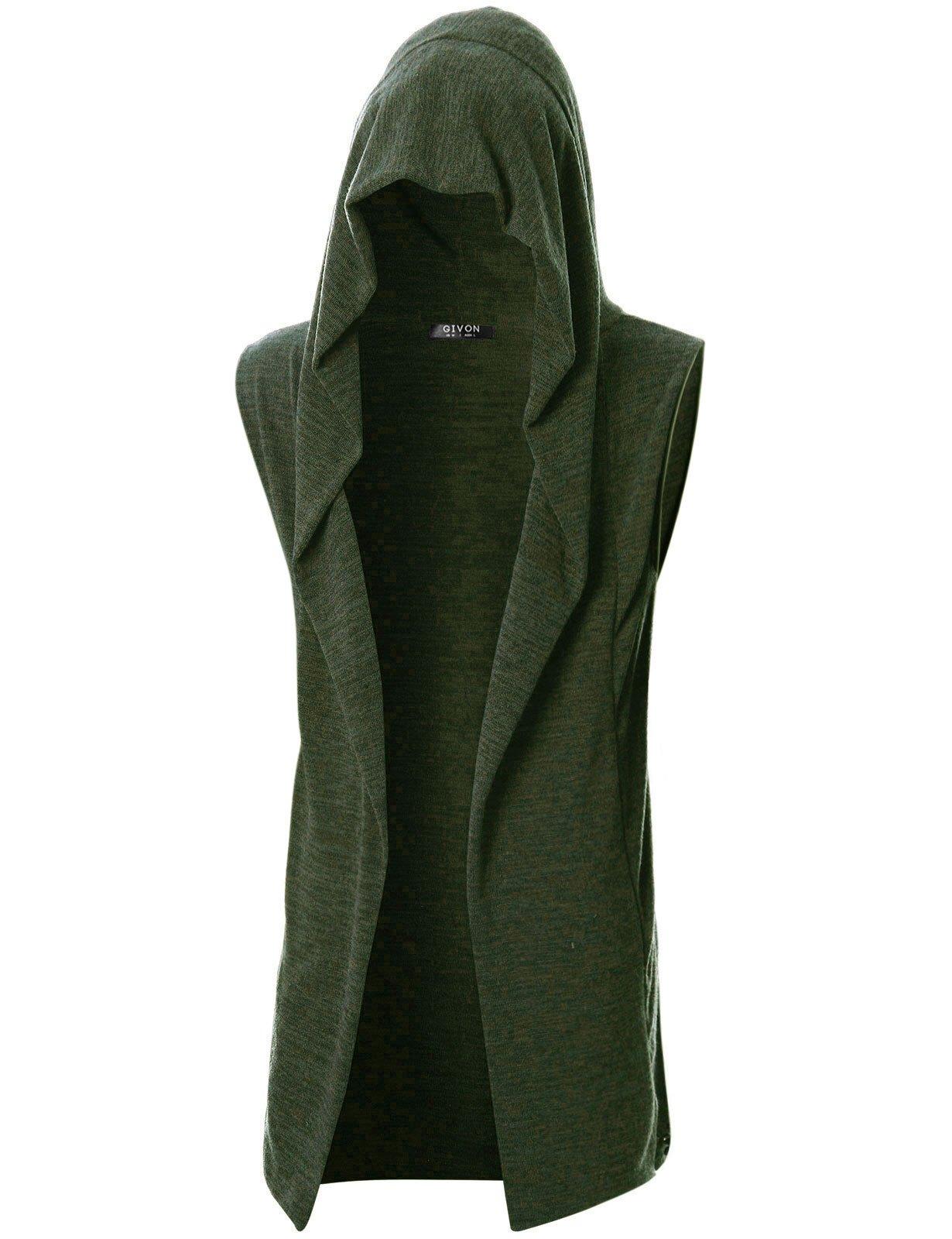 GIVON Mens Sleeveless Lightweight Ruffle Shawl Collar Cardigan with Pockets/DCC046-KHAKI-M
